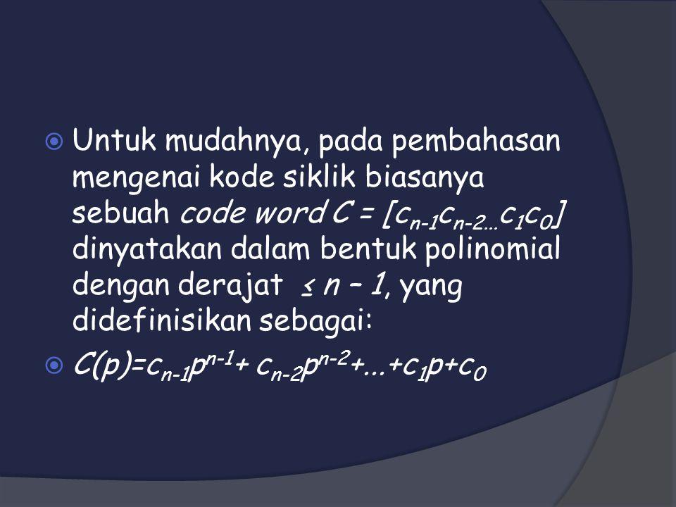 Untuk mudahnya, pada pembahasan mengenai kode siklik biasanya sebuah code word C = [cn-1cn-2...c1c0] dinyatakan dalam bentuk polinomial dengan derajat ≤ n – 1, yang didefinisikan sebagai:
